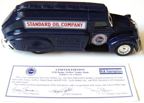 1938 Dodge Airflow Tanker Bank ~ Locking Coin Bank with Key by HGK Enterprises