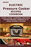 img - for Newbie Electric Pressure Cooker Recipes Cookbook: Soups, stews, chowders, sea foods, chicken recipes, desserts and 14 vegan friendly recipes cookbook book / textbook / text book