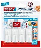 tesa Powerstrips Gardinenhaken, selbstklebend, weiß, 4 Stück