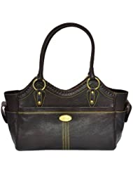 Zifana Leather Hand Bag Brown For Women - B00JHN2HES
