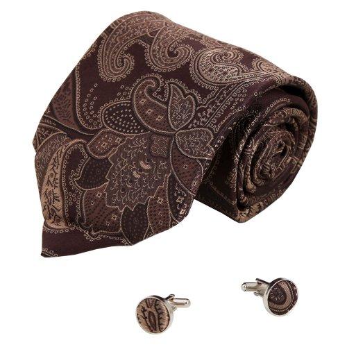 A1094 Dark Brown Patterned Formal Goods Mens Winter Gift Idea Silk Tie Cufflinks Set 2PT By Y&G