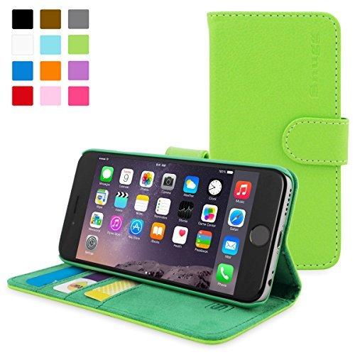 英国Snugg製 iPhone6 Plus用 PUレザー手帳型ケース - 生涯補償付き (グリーン)