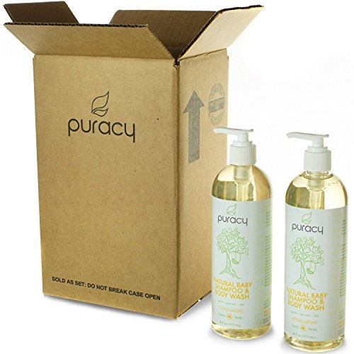 Puracy Natural Baby Shampoo & Body Wash - Sulfate-Free Bubble Bath & Daily Cleanser - Developed By Doctors for Children of All Ages - Citrus Essential Oils - 16 Ounce Bottle (Pack of 2)