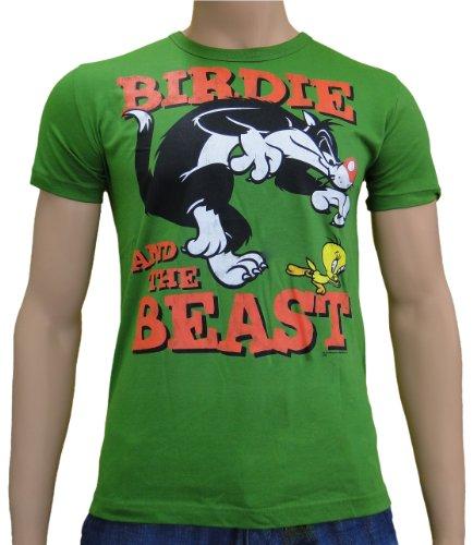 looney-tunes-birdie-and-the-beast-logoshirt-t-shirt-s-xxl-verde-verde-bottiglia-xl
