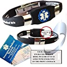Waterproof black silicone medical alert ID bracelet with custom engraving on exclusive acrylic plate (includes up to 10 lines of custom engraving)
