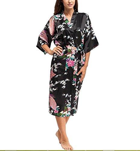 Wonder Wall Women's Sleepwear Kimono Robes Peacock & Blossoms