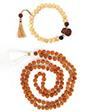 Odishabazaar Rudraksha Mala With Tulshi Bead Adjustable Wrist Band Combo