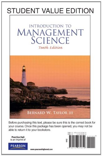 Introduction to Management Science, Student Value Edition...