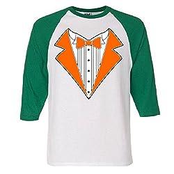 ORANGE TUXEDO Wedding Bachelor Prom TUX Tee Raglan Baseball T-Shirt