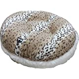 BESSIE AND BARNIE 24-Inch Bagel Bed For Pets, X-Small, Snow Leopard/Snow White
