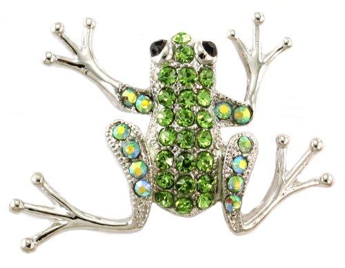 Natural Light Green Frog Toad Pin Brooch Yellow