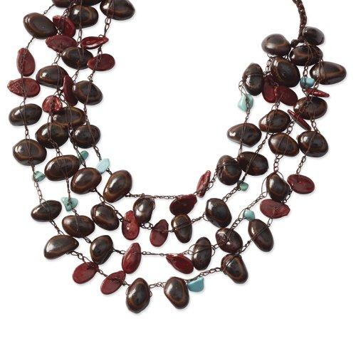 Parota Seed, Red Pumpkin Seed & Turquoise Chip Draped Necklace