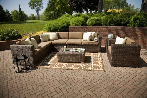 The Palmetto Collection All Weather Wicker Patio Furniture Sectional Set