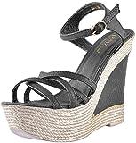 Deccan Shoes Girl's Black Leather Sandals (37 EU)
