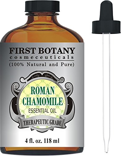 Roman Chamomile Essential Oil with a Glass Dropper - Large 4 oz - 100% Pure & Natural Undiluted Therapeutic Grade & Best Premium Quality Oil