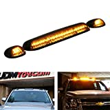 iJDMTOY 3pc-Set Black Smoked Cab Roof Top Marker Running Lamps w/ Amber LED Lights For Truck Pickup 4x4 SUV