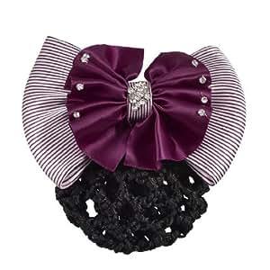 Women Dark Purple Stripes Double Layers Bowtie Snood Net Barrette Hairclip