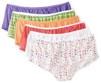 Fruit of the Loom Women's 6 Pack Boyshort Panties, Assorted, 5