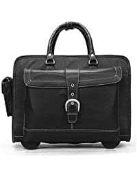 BRUNE Black Color 100% Genuine Leather Check In Strolley Bag/Best Travel Strolley Bag/Weekender Bag/Stylish Strolley...