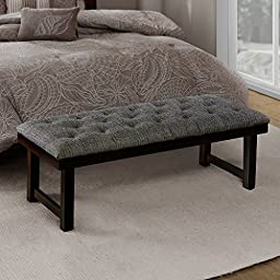 Madison Park Camden Button Tufted Wood Bench Black Muti See below