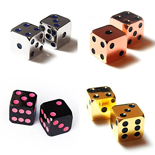 2Pcs D6 16mm Metal Alloy Custom & Unique Dice - Highly Polished Premium Edition (Black body / Pink pips) (Body Part Dice compare prices)