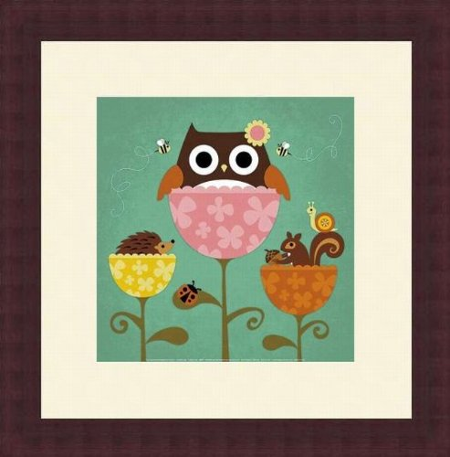 Barewalls Wall Decor by Nancy Lee, Owl, Squirrel and Hedgehog in Flowers - 1