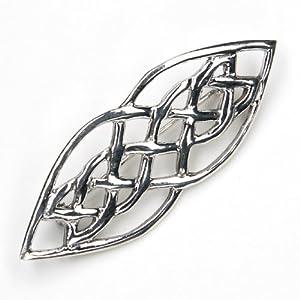 Schmuck Brosche 925 Silber massiv, Gewandnadel aus 925 Sterlingsilber keltisch Größe: 5cm x 2cm