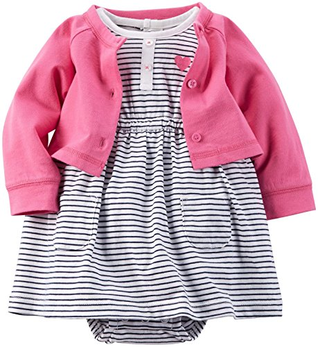 Carter's 2 Piece Dress Set, Pink/Black, 18 Months