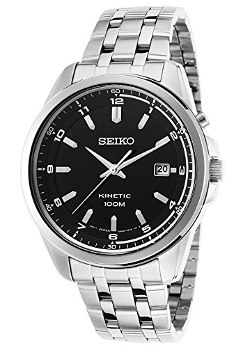 Seiko Men'S Kinetic Stainless Steel Black Dial