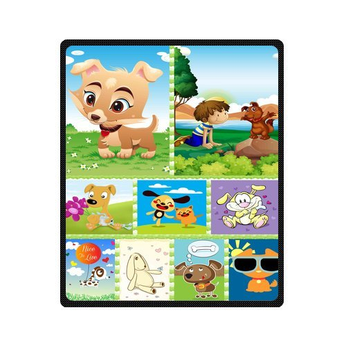 "Personalized Cute Dogs Jigsaw Blanket 50""X 60""(Medium) front-759433"