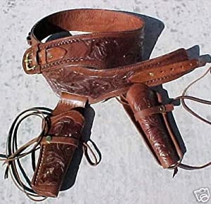 NEW! Brown Genuine Leather Double Western Holster Cowboy Rig 44-45 LC Ammo Loops By GUNS4US ***