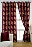 HOMEC Decorous Jacquard Curtain Set of 2 (Size - Window 46 X 60 inch/Color - Maroon)