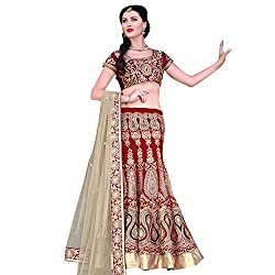 EthnicCrush Women's Georgette Semi Stitched Embroidered Lahenga Choli(EC119Mayloz26,Red)