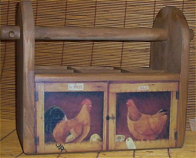 Rooster Wood Utensil Holder Lodge Cabin Country Decor