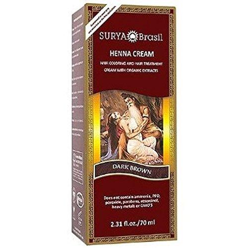 Surya Henna, Henna Cream, High-Performance Healthy Hair Color for Grey Coverage, Dark Brown, 2.37 fl oz (70 ml) (Surya Brasil Conditioner compare prices)