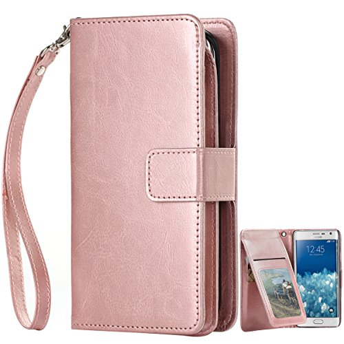 Samsung Galaxy Note Edge Case, BENTOBEN Note Edge Wallet Case [9 Card Slots] [Money Pocket] PU Leather Flip Folio Wallet Case Money Pocket with Wristlet for Samsung Galaxy Note Edge, Rose Gold (Galaxy Note Edge Cases For Women compare prices)