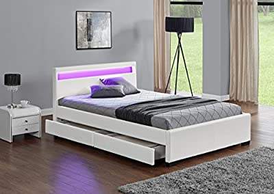 Exclusive Harmin Designer King Sized Musical, Bluetooth LED Colour Changing White Faux Leather Bed Frame with Remote for LEDs