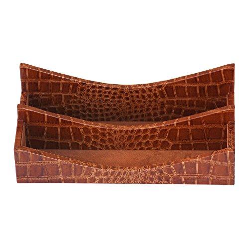 Dacasso Protacini Cognac Brown Italian Patent Leather Letter Holder