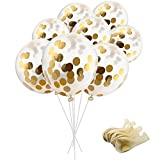 SOTOGO 15 Pieces Gold Confetti Balloons 12 Inches Party Balloons With Golden Paper Confetti Dots (Confetti Has Been Put Into The Balloons) For Party Decorations Wedding Decorations And Proposal