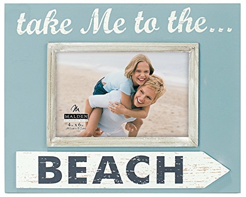"Malden International Designs Shoreline Silkscreened ""Take me to the Beach"" Wood Picture Frame with Wood attachment to Hold 4 by 6-Inch Photo, Sea Blue"