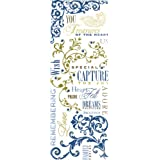 K&Company Blue Awning Phrases, Swirls, & Beads Rub-Ons