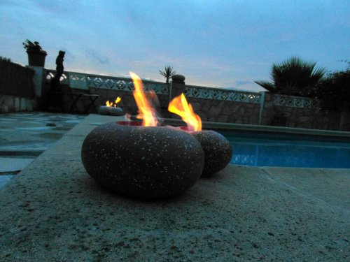 Large Pebble Patio Heater Gel Burner Terracotta