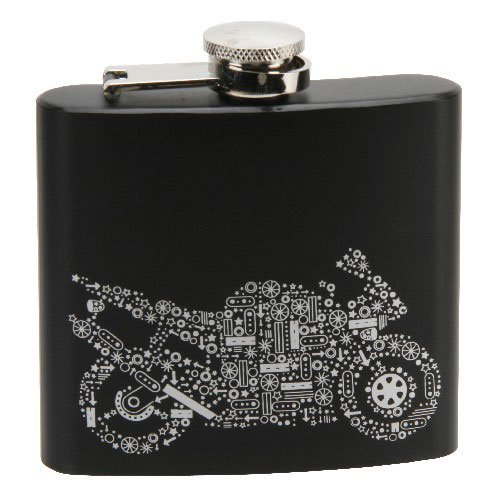 Motorbike Design Black & Silver Hip Flask 5oz Razzle Dazzle - TP125