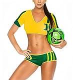 ohyeahlady レディーズ 人気 戸外 ブラジャーとズボンセット スポーツ ブラジャー 運動ブラ 全4色 (深い緑)