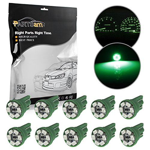 Partsam 10x T10 Wedge Green Speedometer Instrument Gauge Cluster LED Light Bulbs 158 194 (98 Toyota Tacoma Parts compare prices)