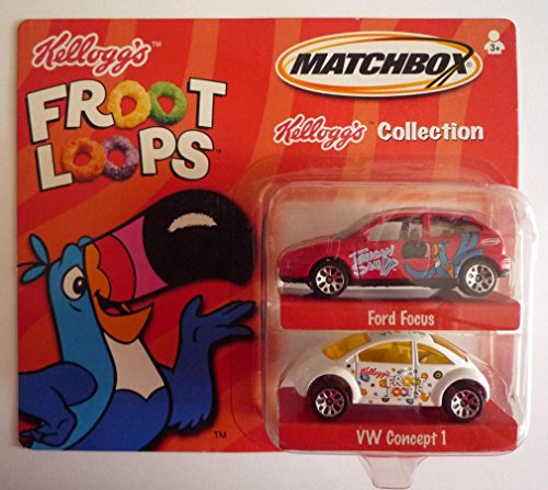 "MATCHBOX 2001 KELLOGG'S COLLECTION - ""Froot Loops"" Ford Focus & VW Concept 1 - 1"
