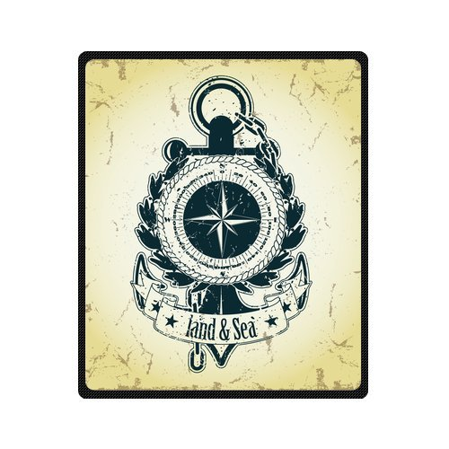 Personalized Fashion Retro Nautical Anchor And Compass Picture Fleece Blanket 50 X 60 back-1030296