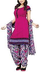 Fabiola Trendz Women's Crepe Silk Unstitched Dress Material (Pink)