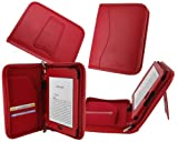 rooCASE Executive Leather Portfolio (Red) Case Cover with Portrait / Landscape Stand for for Amazon Kindle Touch 6-Inch Wi-FI / 3G (Latest Model Kindle 4)