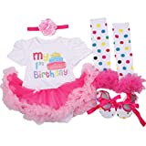 AISHIONY 4PCS Baby Girl 1st Birthday Tutu Onesie Outfit Newborn Party Dress XL